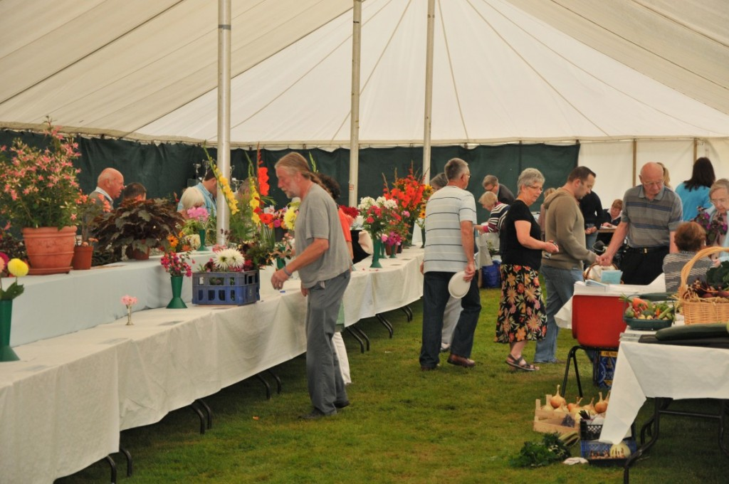 People with entries, setting them up in the marquee